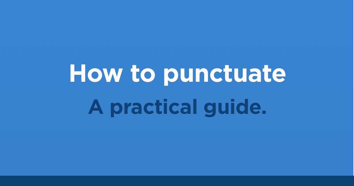 How to punctuate