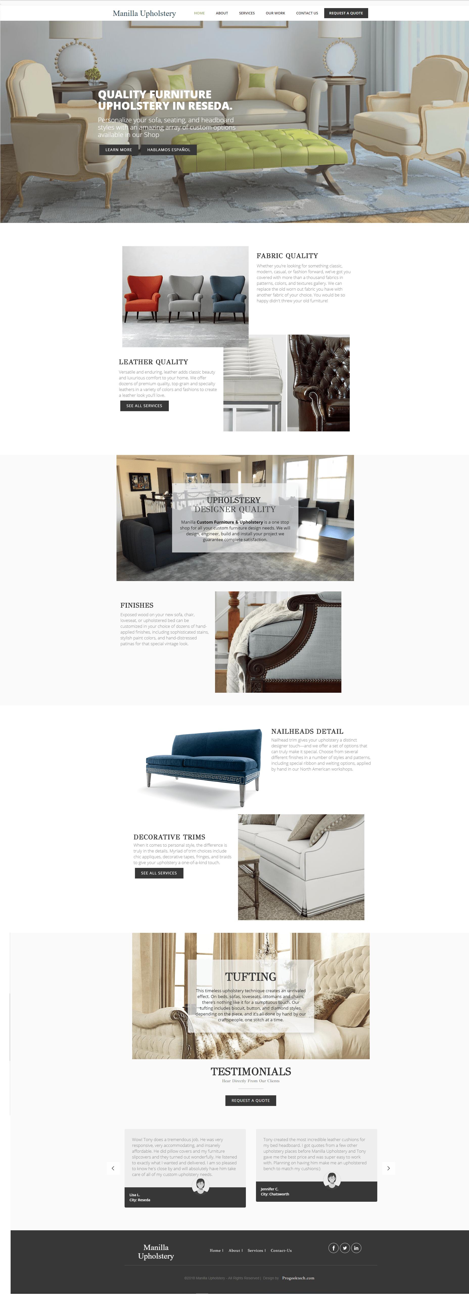 Furniture upholstery website