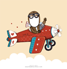 Example of what a personalized Valentine's Day e-card looks like with an illustration of a pilot in a plane against a light yellow background