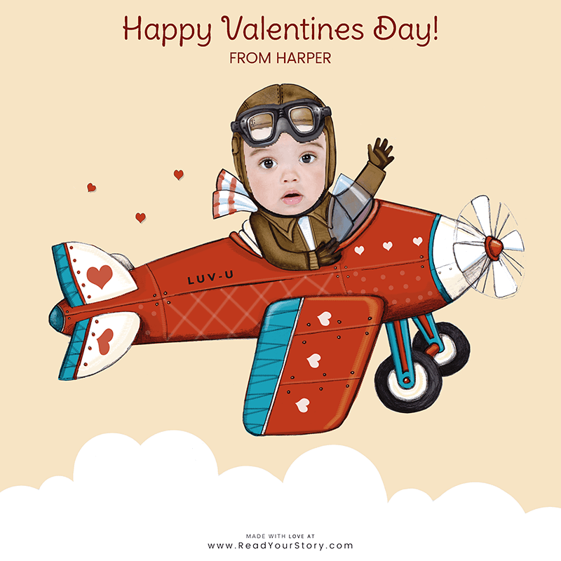 Image of a personalized Valentine's Day e-card, featuring a child named Harper as a pilot flying a plane that says LUV-U on the side, all of which is against a light yellow background.  The card is illustrated except for Harper's face which is an actual, cropped photo of her face