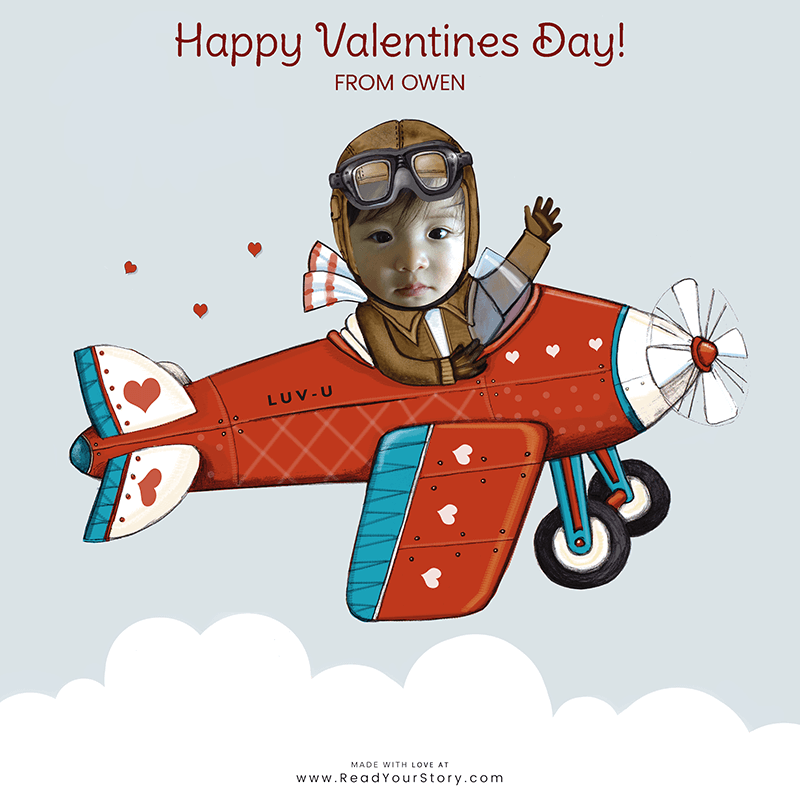 Free Personalized Valentine's Day eCard: image of a personalized Valentine's Day e-card, featuring a child named Owen as a pilot flying a plane that says LUV-U on the side, all of which is against a light blue background.  The card is illustrated except for Owen's face which is an actual, photo of his face
