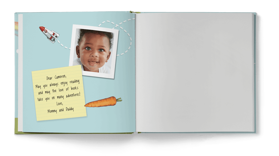 Last page of the personalized ABC book which has a photograph of the child as well as a special dedication note