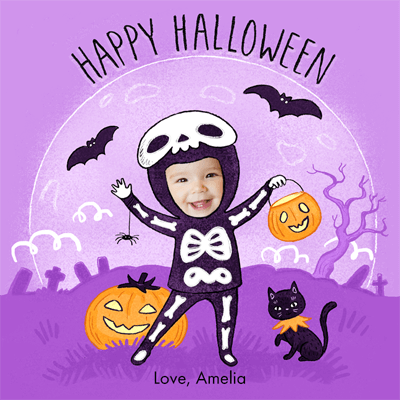 "Personalized Halloween eCard, featuring a child named Amelia dressed in a skeleton suit against a purple background with pumpkins, bats and a black cat. The card reads ""Happy Halloween."" The card is illustrated except for Amelia's face which is an actual, cropped photo of her face"