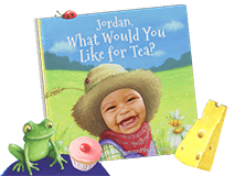 "Personalized children's book cover of ""What Would You Like for Tea?"". Cover features a child dressed in overalls with a bandanna around neck and straw hat atop head. Background features a nature background with green hills and trees. Cover is illustrated with the exception of the child's face which is an actual photo."