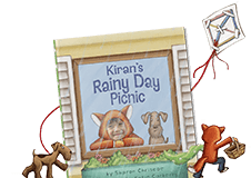 "Personalized children's book cover of ""Rainy Day Picnic"". Cover features a child dressed in a costume looking out of a window with a brown dog next to the child. Cover is illustrated with the exception of the child's face which is an actual photo."