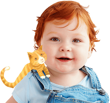 Happy, smiling boy with an illustrated yellow cat perched on his shoulder, against a blue background with gift boxes and birthday candles