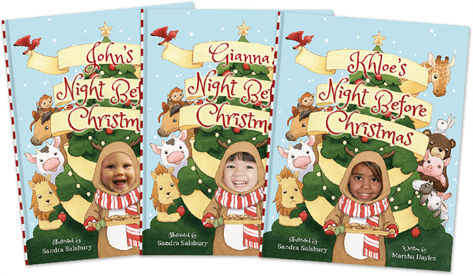 Three different covers of a personalized version of Night Before Christmas; each featuring a different name and child's face. Each child is dressed as a reindeer holding a plate of cookies, with a Christmas tree and animals in the background.