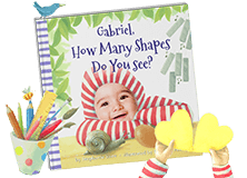 "Personalized children's book cover of ""How Many Shapes Do You See?"". Cover features a child wearing a red and white striped hoodie with various shapes (spiral, oval, rectangles) in the fore and backgrounds. Cover is illustrated with the exception of the child's face which is an actual photo."