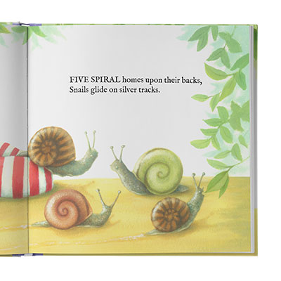 Watercolor illustration of spiral-shaped snails with rhyming text above.