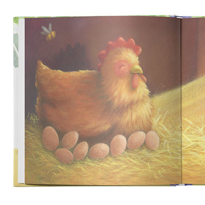 Water color illustration of a red hen and eight oval shaped eggs beneath her.