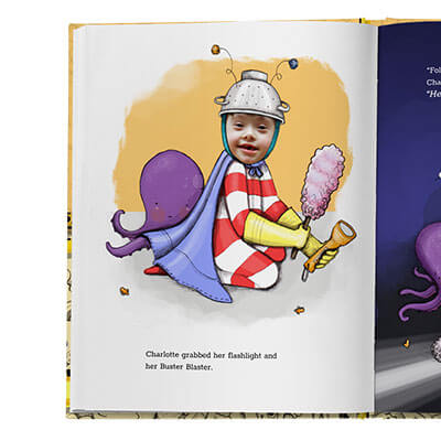 A sample book page.  Illustration shows child holding a dustbuster while wearing red and white striped pajamas, accompanied by a purple octopus stuffed animal. Child's face is an actual photo, the rest of the page is illustrated.