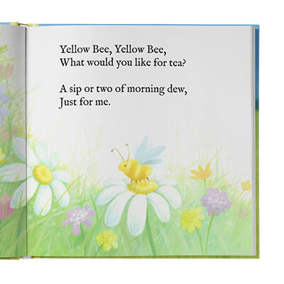 White, yellow and purple flowers with a bumble bee sitting on the middle flower. Above is rhyming text.