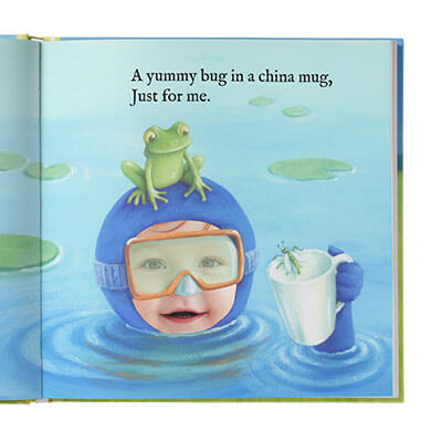Sample book page of a child dressed in a diving suit with a frog on his head and a bug in a mug he is holding. Page is illustrated with the exception of child's face which is an actual photo. Rhyming text above.