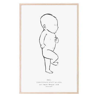 Personalized black & white birth poster of a hand-drawn baby at 1:1 scale in length and personalized with child's name and birth stats. Portrait orientation with child facing right.
