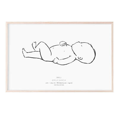 Personalized black & white birth poster of a hand-drawn baby at 1:1 scale in length and personalized with child's name and birth stats. Landscape orientation with child's head on left.