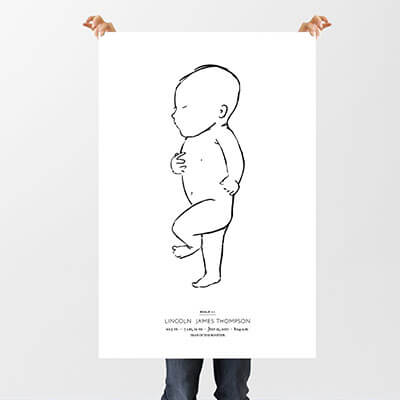 Image of someone (face and body obscured) holding the poster to depict large size of poster.