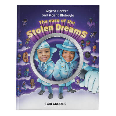 Create a custom search and find children's book: a personalized book cover for the Case of the Stolen Dreams, featuring two children's names and faces. The children are dressed as secret agents with dream imagery in the background.