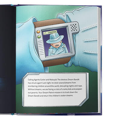 Illustrated arm with a watchface showing someone named Lt. Sandman who is sending a message to the children who star in this personalized book.  Mission is outlined in text beneath the illustration.