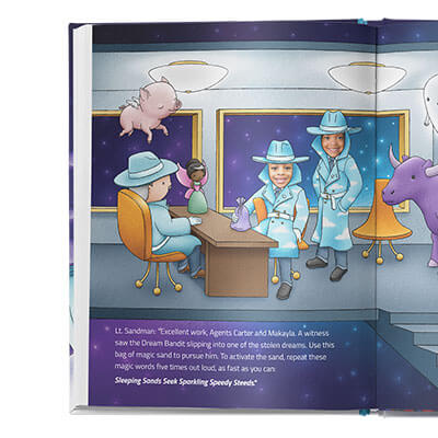Two secret agents are sitting at a desk with another agent standing near a window.  The room is filled with fantastical imagery such as a flying pig, a fairy, a purple cow and a ghost.
