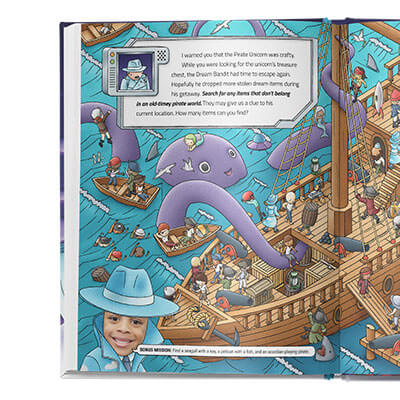 Watch face appears in top left corner with the agents' mission, to search for items that do not appear on a pirate boat.  Page depicts a fun pirate ship scene with swashbuckling pirates and more. Bottom left shows one of the children who stars in this book, and a bonus mission to find certain objects.