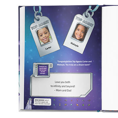 Two secret agent badges that say Top Agent, featuring names and faces of the children who star in the book.  Beneath is a custom dedication written by the book giver.