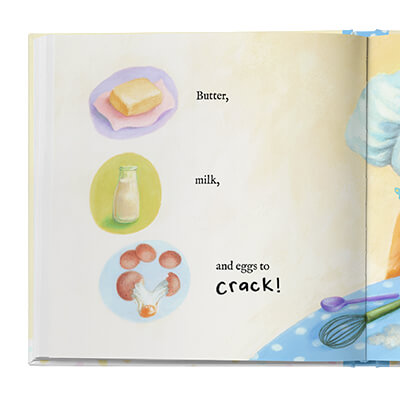 Sample book page, illustrated with ingredients for making a cake - butter, milk and eggs.