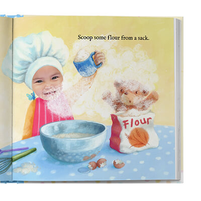Sample book page, with a child scooping flour from a sack.  Flour is partially covering her face.  Page is illustrated with exception of child's face which uses an actual photo.