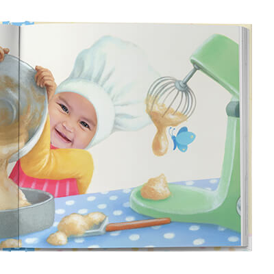 Sample book page showing child pouring batter into a bowl. Next to her is a mixer with cake batter dripping.  Page is illustrated with exception of child's face, which is an actual photograph.