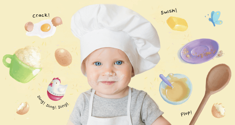 Toddler boy wearing white apron and white chef's hat, face is smudged with flour. Around him are illustrated objects such as eggs, a timer, butter, plate and wooden spoon.