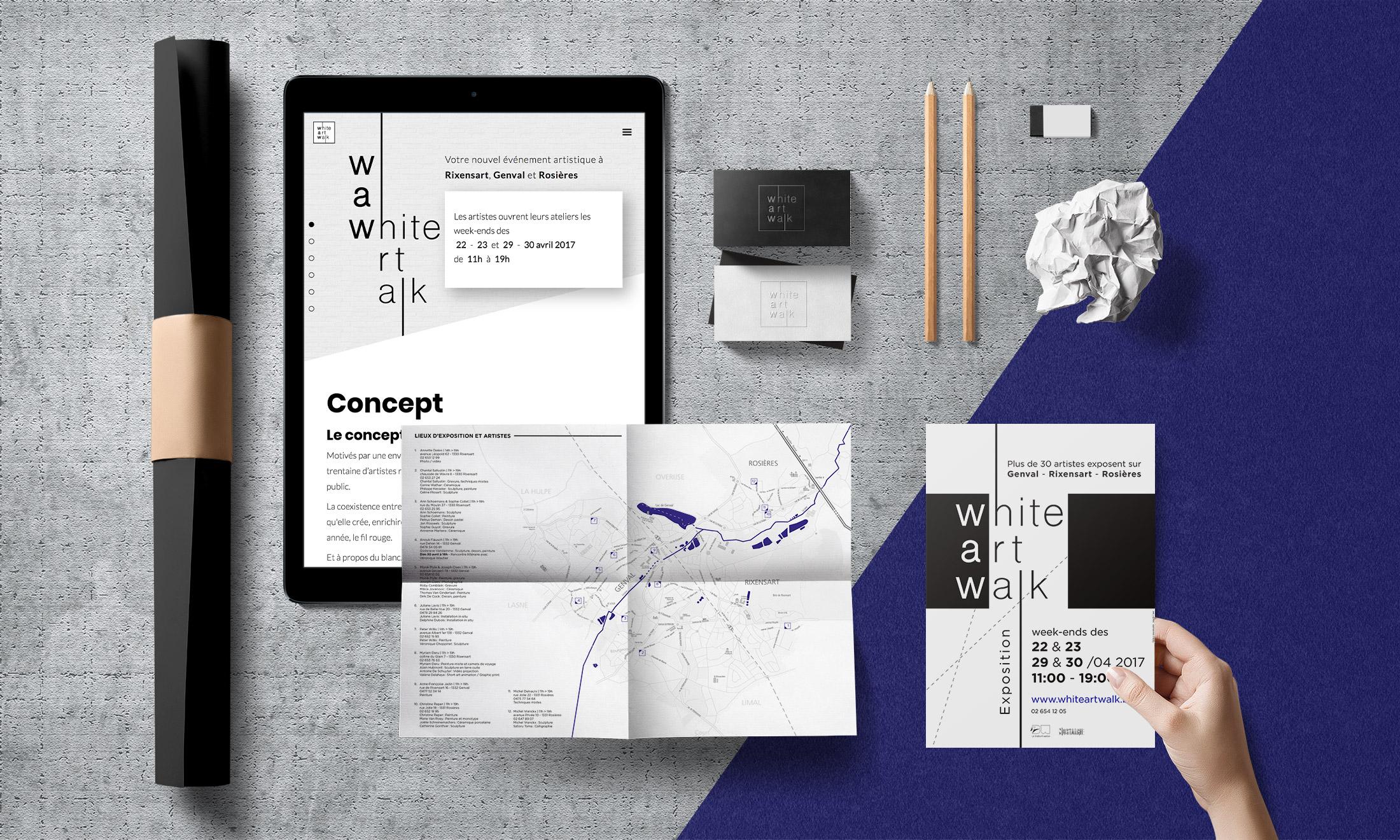 WAW - White art walk – Création de l'identité graphique de l'événement et réalisation du site Webflow – Parcours d'artiste de Rixensart