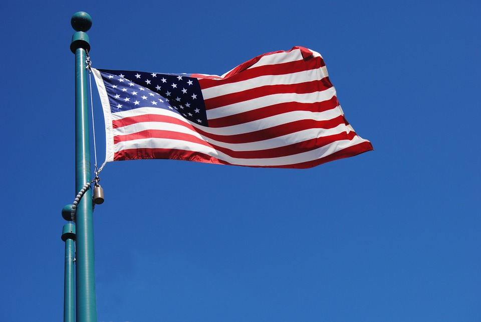 us flag at full mast