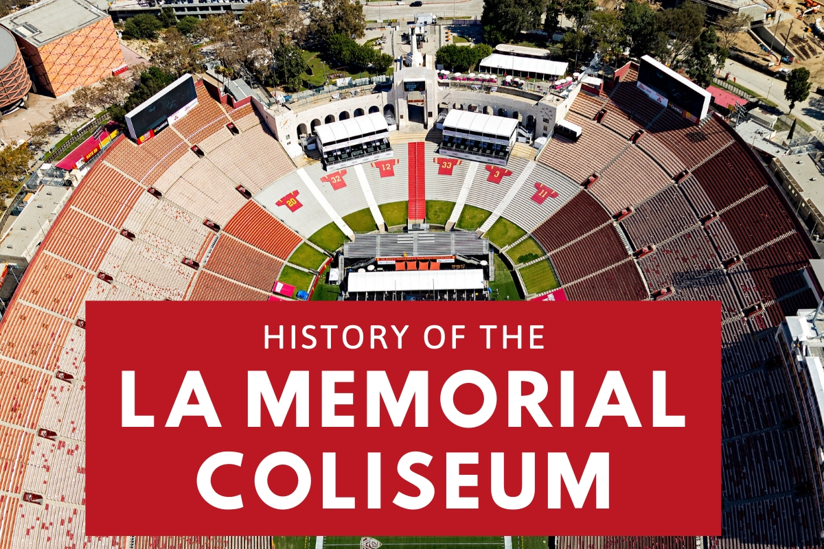 Aerial Photograph from the Inside of Los Angeles Memorial Coliseum