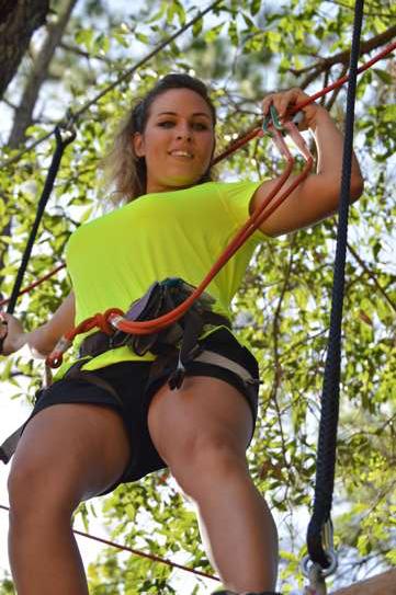 woman ziplining