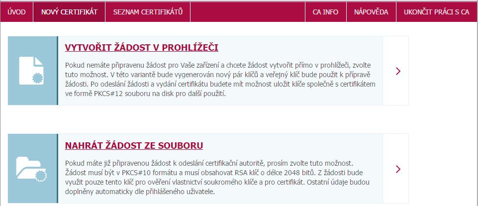 Žádost o nový certifikát