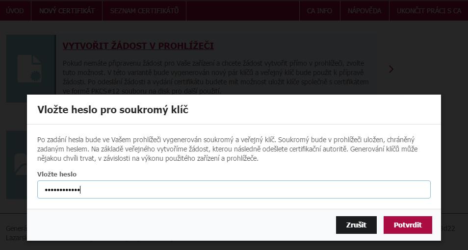 Vložení hesla pro žádost o nový certifikát