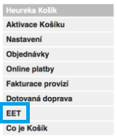 Heureka Košík a EET