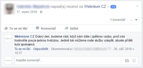 Hodnocení na Facebooku a reakce
