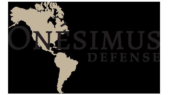 Onésimus Defense logo dark lettering.