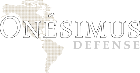 Onésimus Defense logo light lettering.