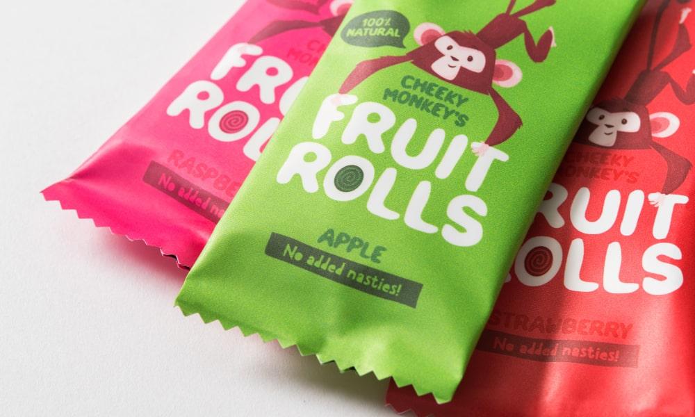 Cheeky Monkey's Fruit Rolls Kids Packaging   Q+H London