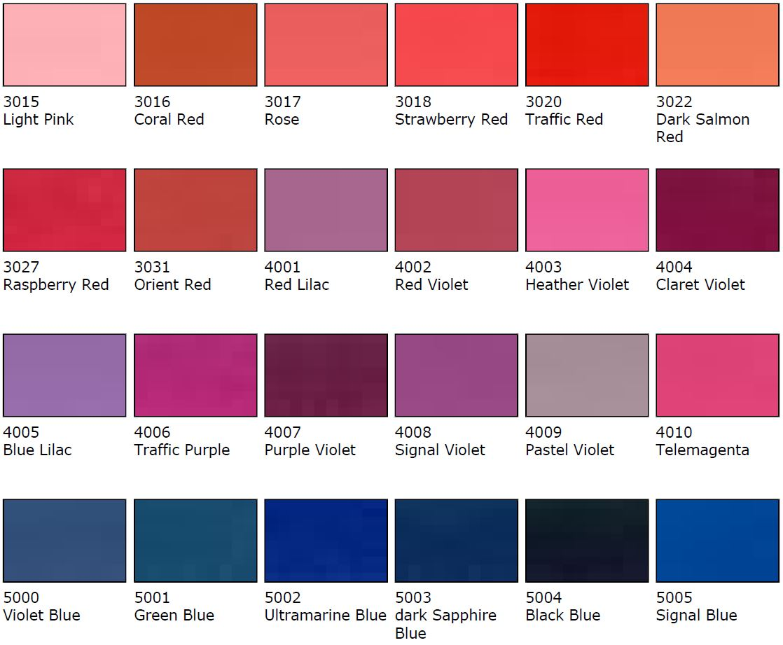 Pink Colour Samples