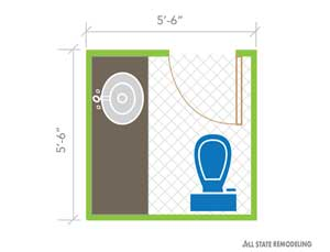 Half Bathroom Layout Design