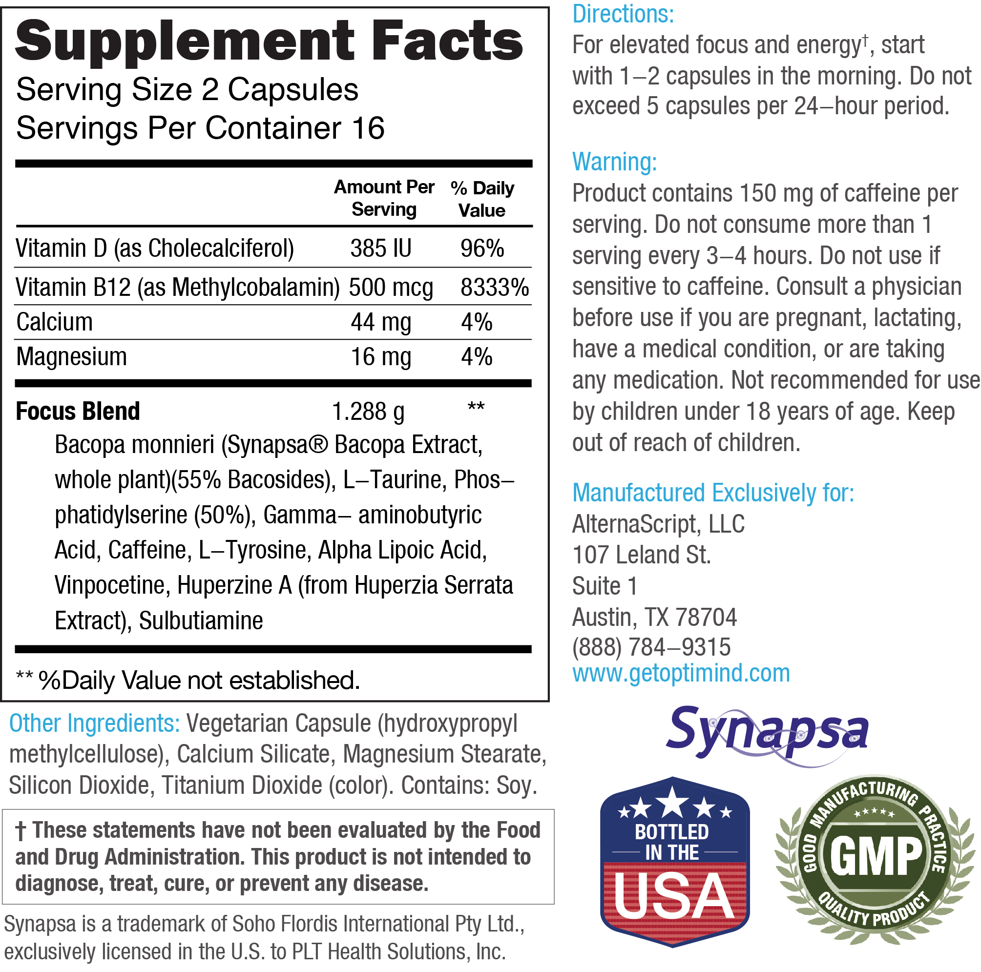 Optimind Supplement Facts