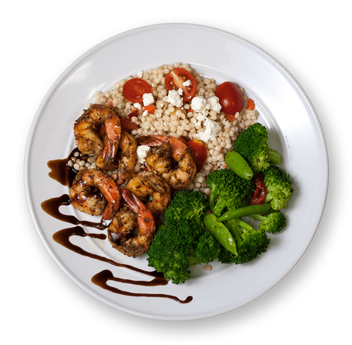 Grilled Balsamic Shrimp with Mediterranean Couscous and Steamed Veggies