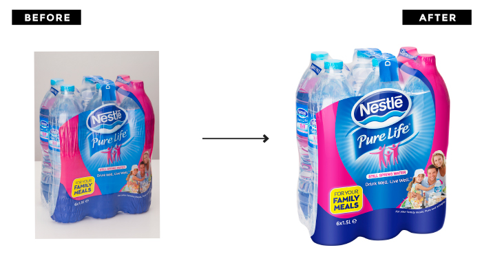 Nestlé Waters Packshot Before and After | Q+H London