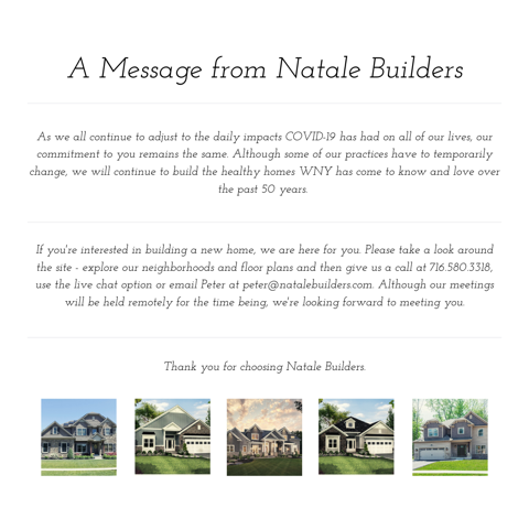 A message from natale builders