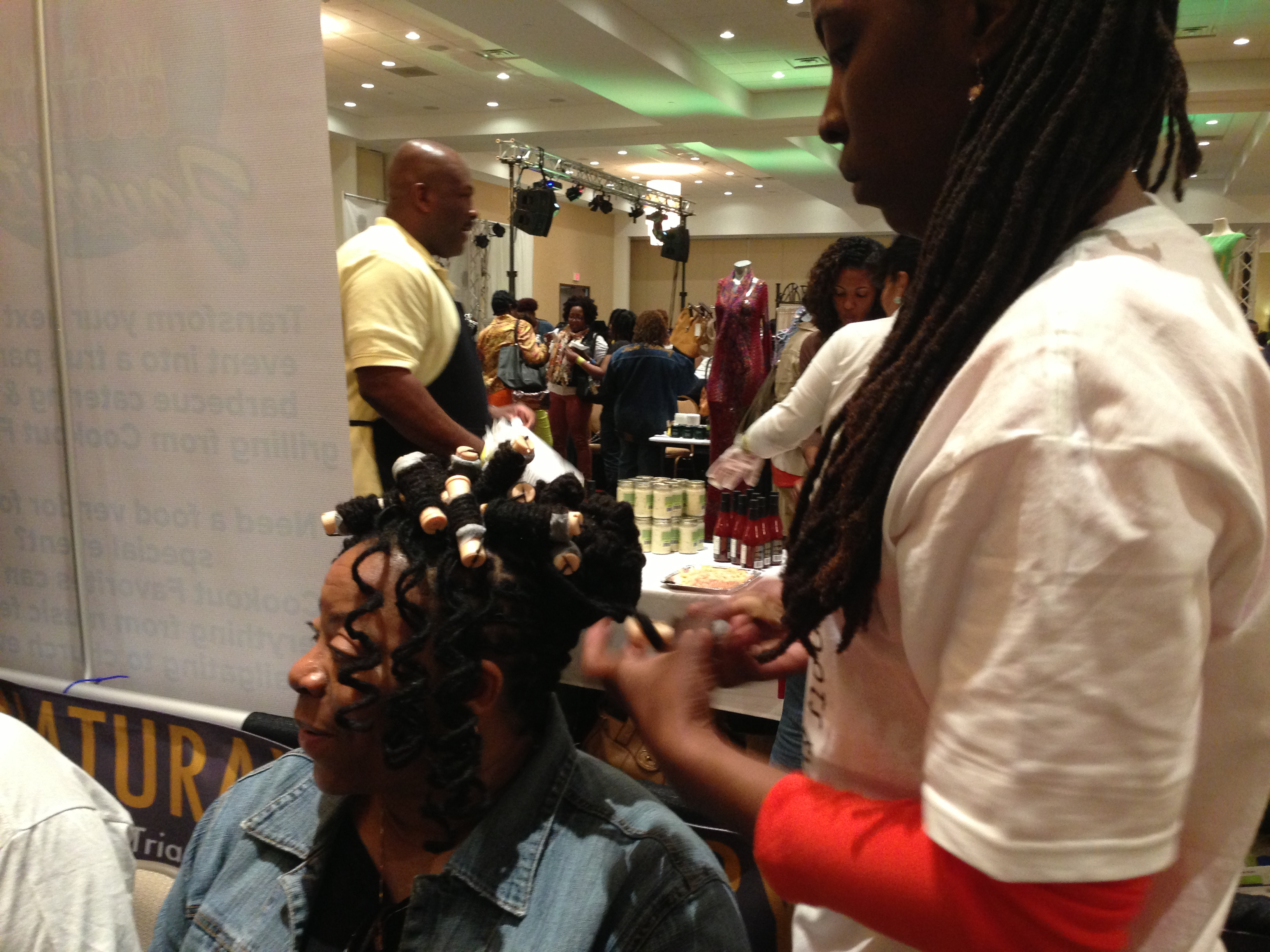 A sample of a client's hairstyle in progress