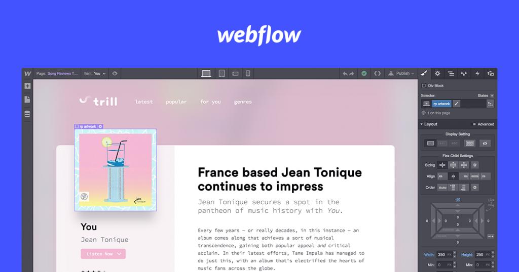 Interfaccia di Webflow