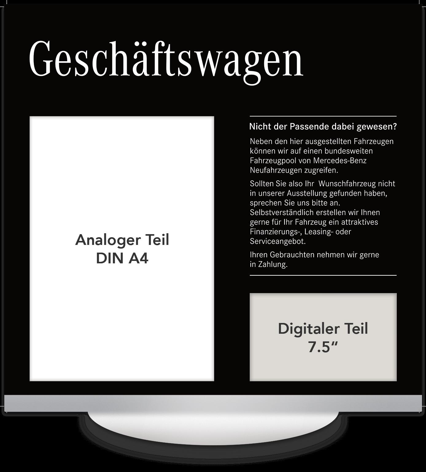 Elektronisches Preisschild 7.5 Zoll Mercedes Geschäftswagen Design
