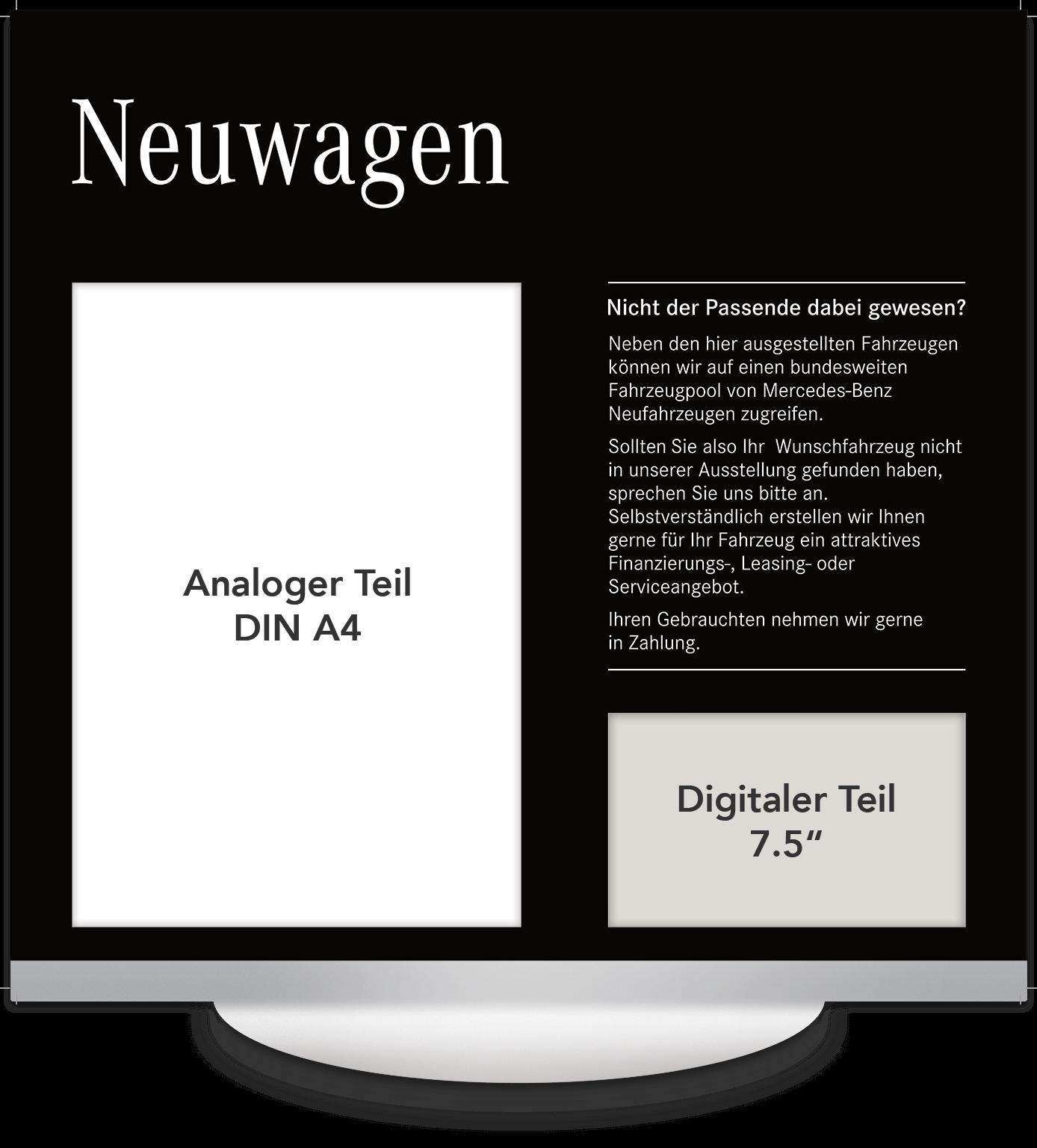 Elektronisches Preisschild 7.5 Zoll Mercedes Neuwagen Design